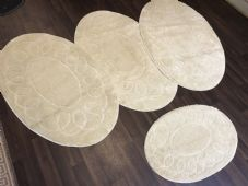 ROMANY GYPSY WASHABLES TRAVELLER MATS FULL SET OF 4 OVAL DESIGNS 80X120CM BEIGE